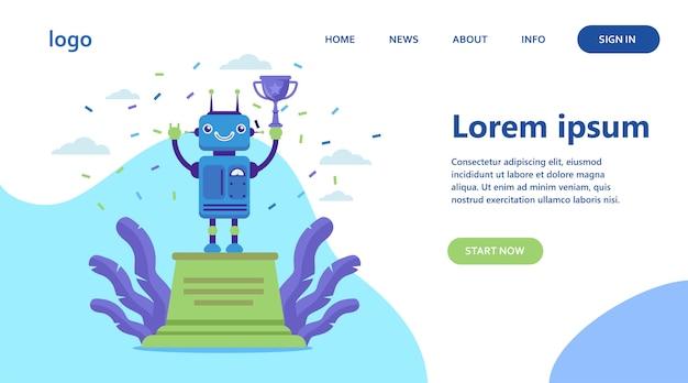 Robot winnende gouden beker