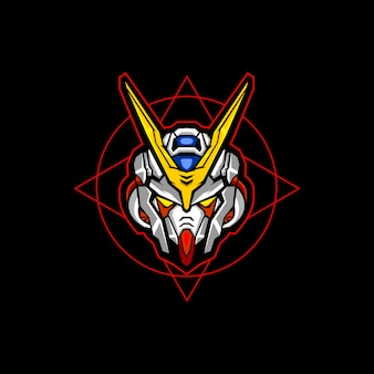 Robotachtig hoofd esports logo vector ontwerp