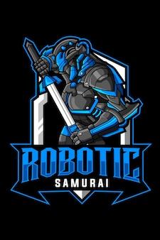 Robotachtig samurai-mascotte-logo