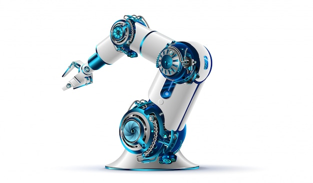 Robotachtig wapen 3d op witte achtergrond