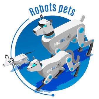 Robotachtige huisdieren isometrische ronde samenstelling met geautomatiseerd kathond metgezellen muis elektronisch speelgoedapparaat