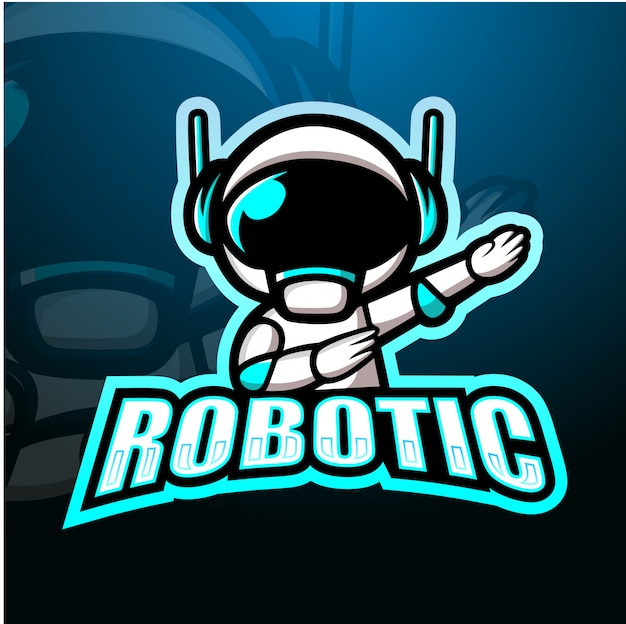 Robotachtige mascotte esport illustratie