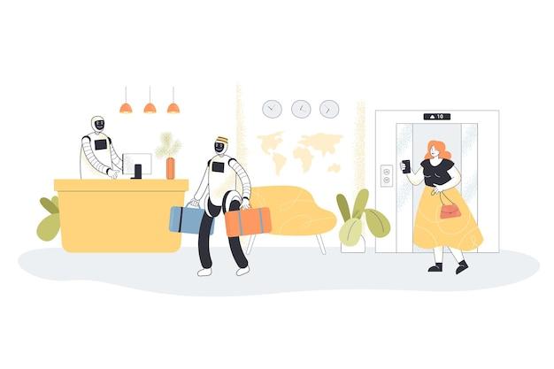 Robotachtige receptionisten die gast ontmoeten in hotel