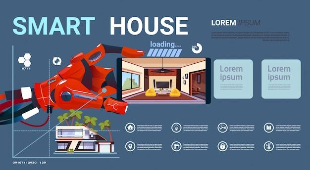 Robotachtige smartphone van de handholding met de slimme interface van de huiscontrole, moderne technologie van huisautomatiseringsconcept
