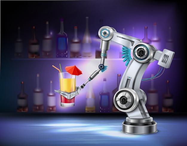 Robotachtige wapen dienende cocktail bij de realistische samenstelling van het barcafé restaurant met binnen wijnflessen