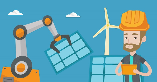 Robotarm die zonne-energiepaneel installeert.