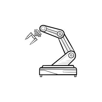 Robotarm hand getrokken schets doodle pictogram. industriële robot, robotindustrie en technologie, machineconcept