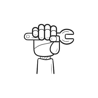 Robotarm met moersleutel hand getrokken schets doodle pictogram. machinereparatie, kunstmatige intelligentieconcept