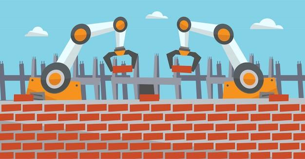 Robotarmen werken op de bouwplaats.