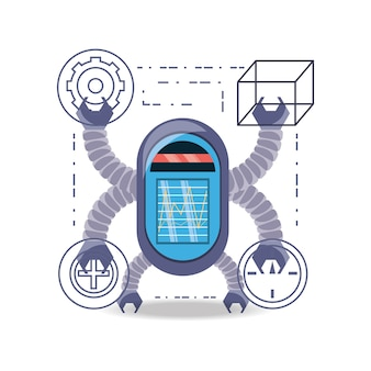 Robotbeeldverhaal van robotachtige technologie en futuristisch thema