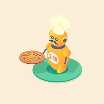 Robotchef-kok die pizza maakt