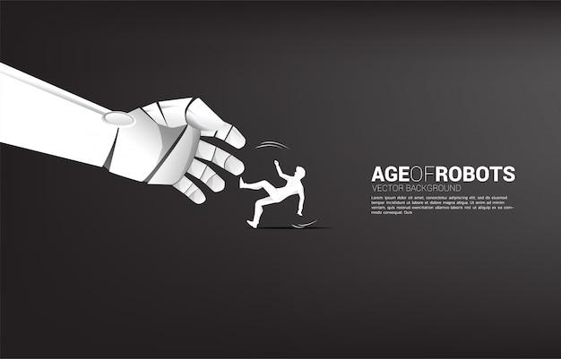 Robothand probeert een vallende man te grijpen