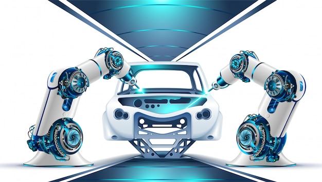 Robotic arm's werkt in de fabriek aan de productie van auto's