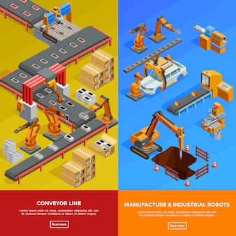 Robotic conveyor line isometric banners