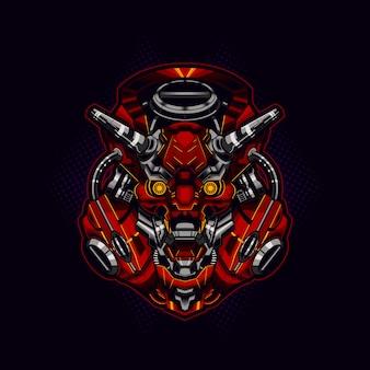 Robotic cyberpunk ronin samurai