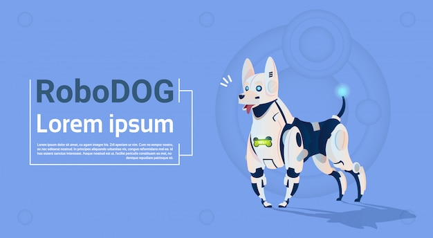 Robotic dog cute domestic animal moderne robot pet artificial intelligence technology