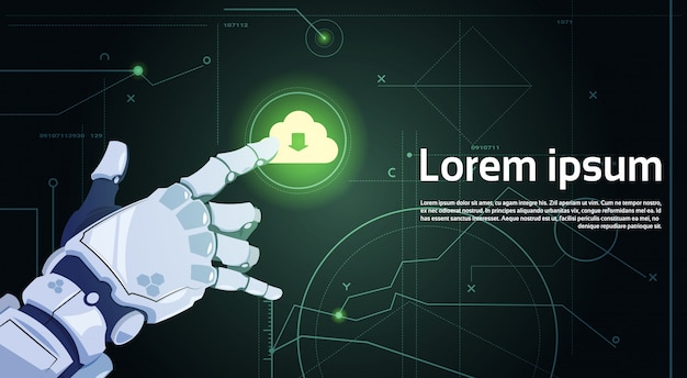 Robotic hand touch cloud database cloud computing technologie robots en kunstmatige intelligentie concept