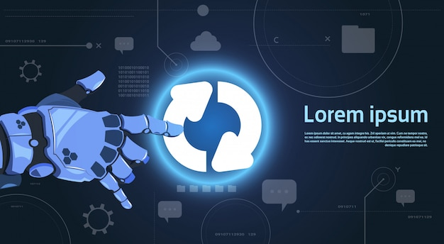 Robotic hand touch system update button on digital screen moderne technologiebanner