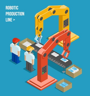 Robotic productielijn. productie en machine, automatisering en robotica en industrie. vector illustratie