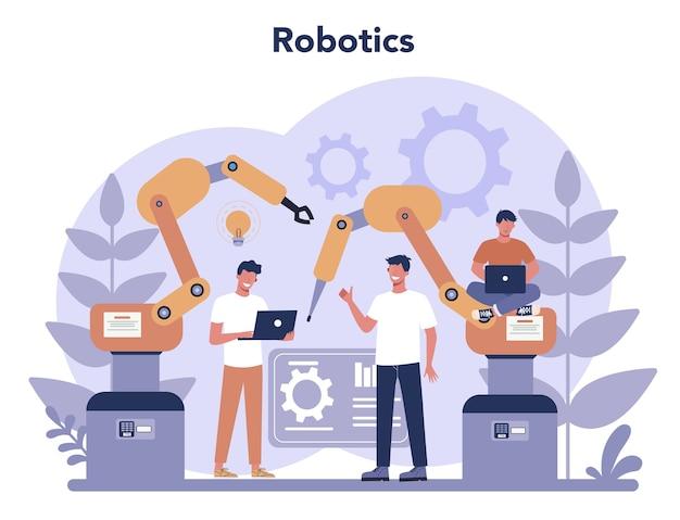 Robotica concept. robot engineering en programmeren. idee van kunstmatige intelligentie en futuristische technologie. automatisering van machines.