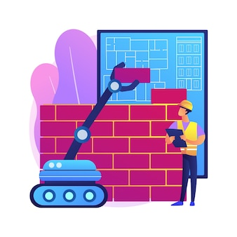 Robotica constructie abstract concept illustratie. robotica fabricage, ai in de bouw, fabrieksautomatisering, bouwrobot, automobiel machinewerk.