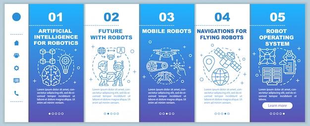 Robotica-cursussen onboarding sjabloon voor mobiele webpagina's. cybernetica. responsieve smartphone-interface-idee met lineaire illustraties. doorloopstappen voor webpagina's. kleur concept
