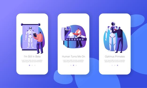 Robotica hardware en software science engineering mobiele app-pagina schermset aan boord
