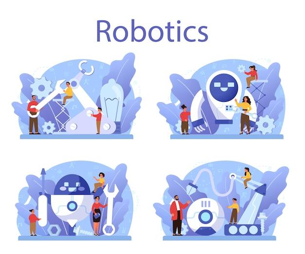Robotica school onderwerp concept set. robot engineering en programmeren. idee van kunstmatige intelligentie en futuristische technologie.