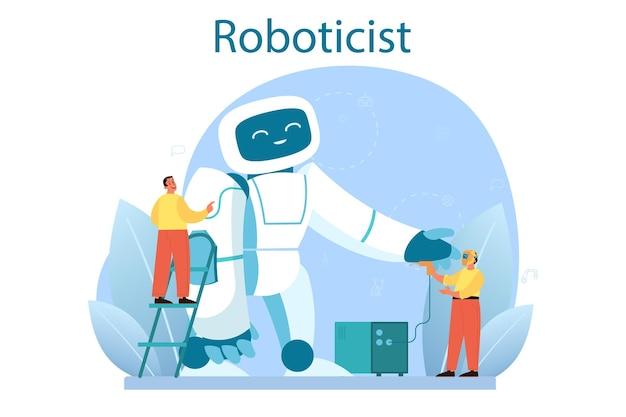 Roboticist concept. robotic engineering en constructie. idee van kunstmatige intelligentie in de bouwsector. automatisering van machines. geïsoleerd