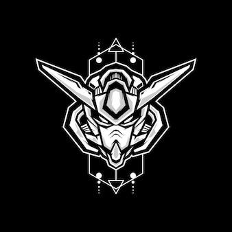 Robotkop met heilige geometrie achtergrond voor sport logo ontwerp