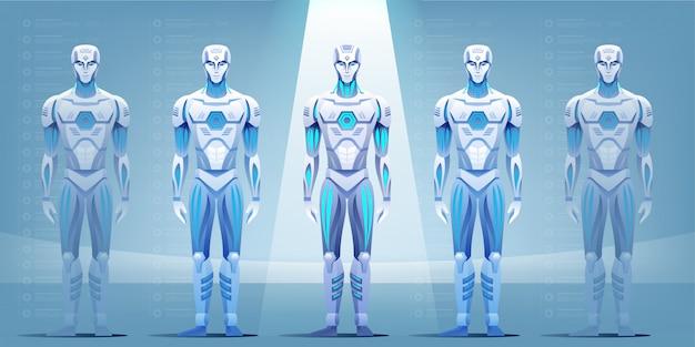 Robotlopende band die cyborg in fabriek produceren.