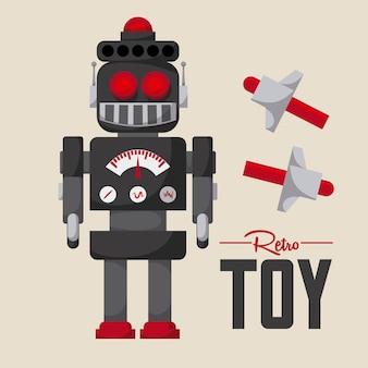 Robotontwerp over roze vectorillustratie als achtergrond