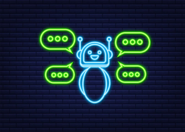Robotpictogram. bot teken ontwerp. neon icoon. chatbot symbool concept. bot voor spraakondersteuning. online ondersteuningsbot. vector illustratie.