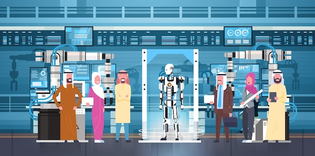 Robotproductie arabische bedrijfsmensengroep bij moderne fabrieksrobotic industrie, kunstmatige intelligentieconcept