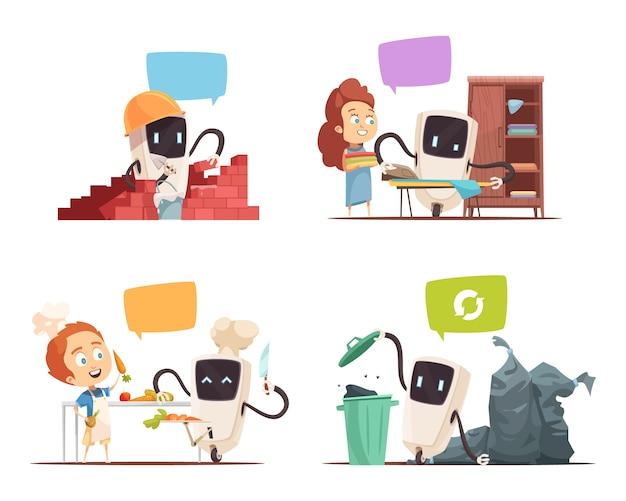 Robots assistance concept 4 pictogrammen