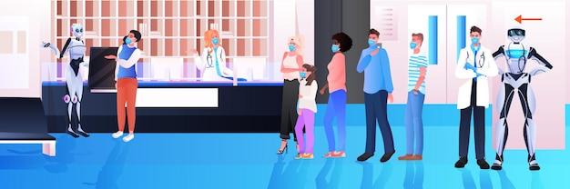 Robots assisteren mix race patiënten in maskers bij ziekenhuis receptie moderne kliniek hal interieur gezondheidszorg kunstmatige intelligentie technologie horizontale volledige lengte vectorillustratie