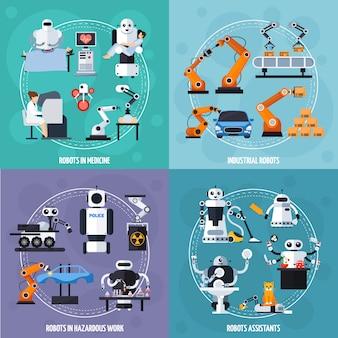 Robots concept icons set