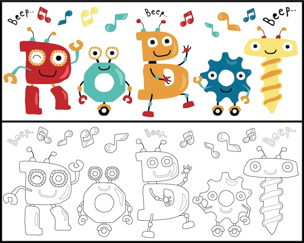 Robots dansen cartoon, kleurboek of pagina