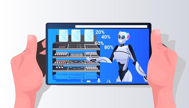 Robots die cosmetica-items tonen op het smartphonescherm kunstmatige intelligentie technologie concept horizontale portret vectorillustratie