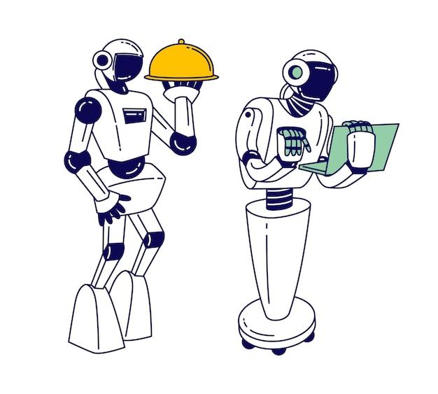 Robots die dienen in de horeca en het bedrijfsleven. cartoon vlakke afbeelding