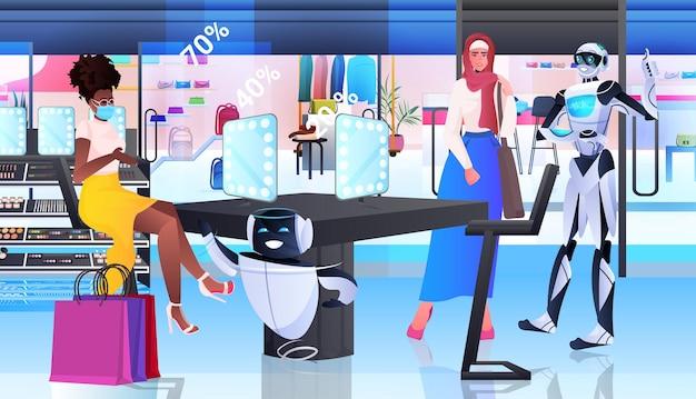 Robots die items in het concept van de kunstmatige intelligentietechnologie van de modeboetiek horizontaal tonen