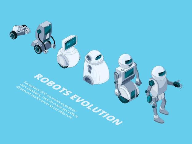Robots evolutie. androids digitale metalen karakters isometrische robotontwikkeling.