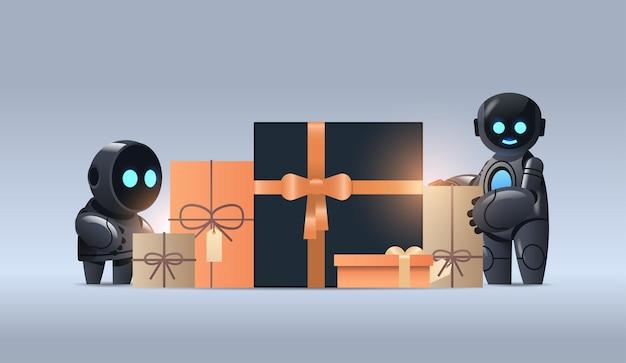 Robots in de buurt van ingepakte geschenken. cyber maandag winkelconcept. kunstmatige intelligentie technologie