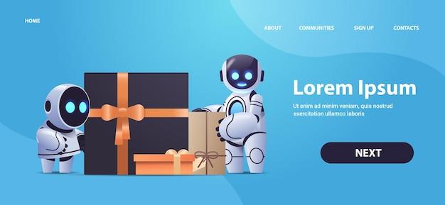 Robots in de buurt van ingepakte geschenken, kunstmatige intelligentietechnologie