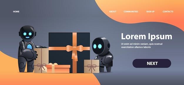 Robots in de buurt van ingepakte geschenken, viering kunstmatige intelligentie technologie
