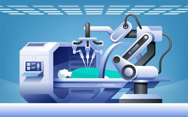 Robots in de geneeskunde. innovatieve geneeskunde. robotchirurgie. modern medisch technologieconcept.