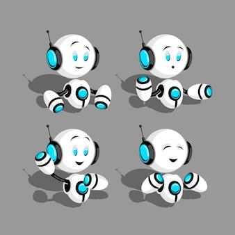 Robots ingesteld op grijze achtergrond in vector eps 8