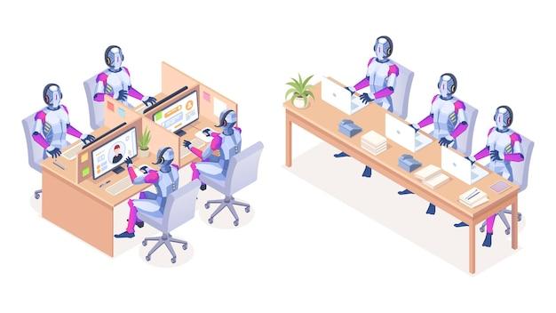 Robots met computers die bij callcenter werken. ai-technologie voor hulplijn of telemarketing, telesale. automatische digitale ondersteuning voor klant. cyborg met hoofdtelefoon. automatisch en automatisering