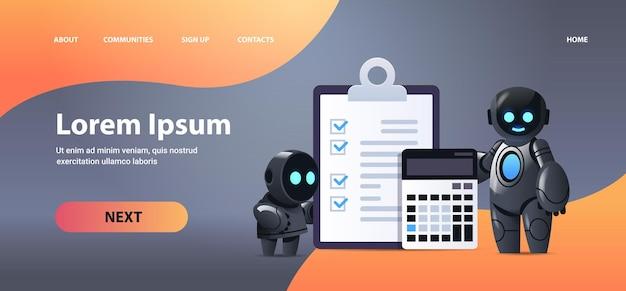 Robots met klembord en rekenmachine financiële gegevens verslag organisatie procesanalyse boekhouding kunstmatige intelligentie technologie