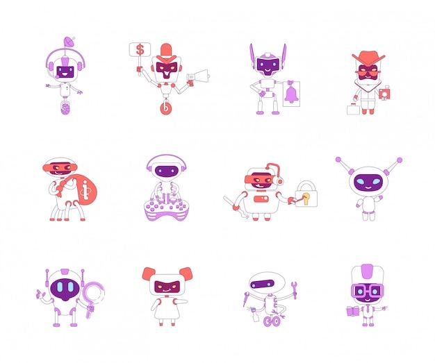 Robots rode en paarse lineaire objecten instellen. slechte en goede bots dunne lijn symbolen pack. informatie stelen, persoonlijke assistentie software geïsoleerde overzichtsillustraties op witte achtergrond
